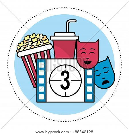 film countdown number 3 with popcorn and genres, vector illustration