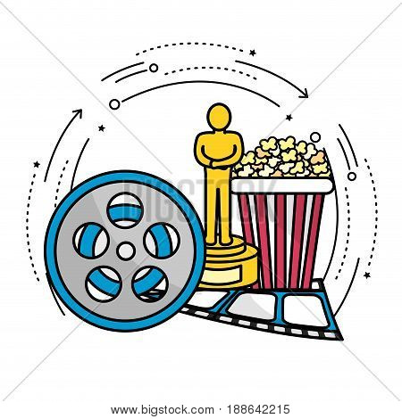 reel scene with prize, popcorn and filmstrip, vector illustration