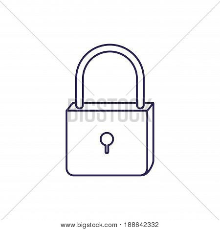 purple line contour of padlock icon vector illustration