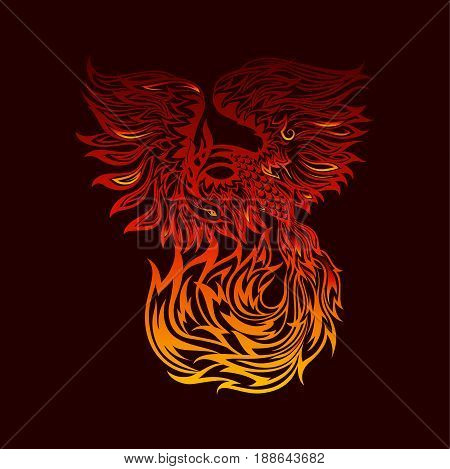 Tattoo with flaming phoenix in doodle tribal style. hand drawn stylized illustration. phoenix flight, original artwork. fire bird in flight.