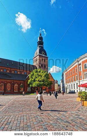 People On Dome Square With Riga Cathedral At Old Town