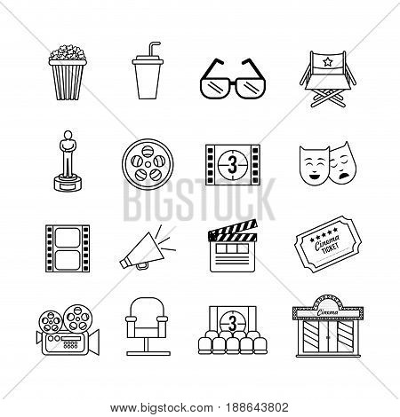 set cinematography tools production studio, vector illustration