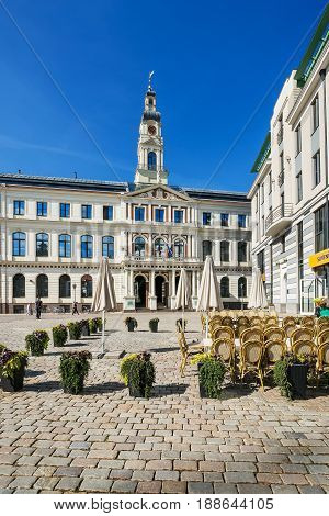 City Council At Town Hall Square In Riga