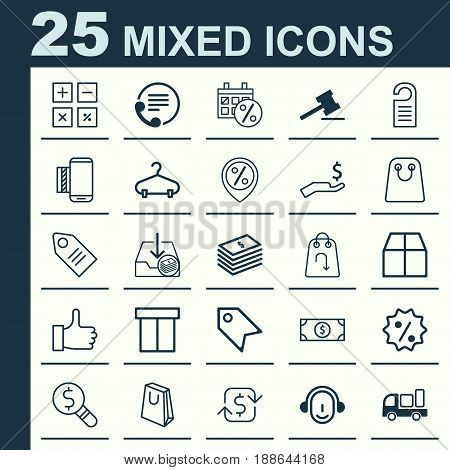 Commerce Icons Set. Collection Of Price Stamp, Rich, Recommended And Other Elements. Also Includes Symbols Such As Employee, Day, Cardboard.