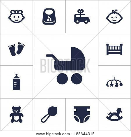 Set Of 13 Child Icons Set.Collection Of Bus, Baby, Breastplate And Other Elements.