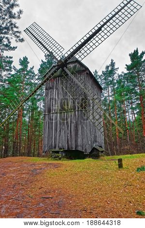 Old Wooden Windmill In Ethnographic Open Air Village Riga