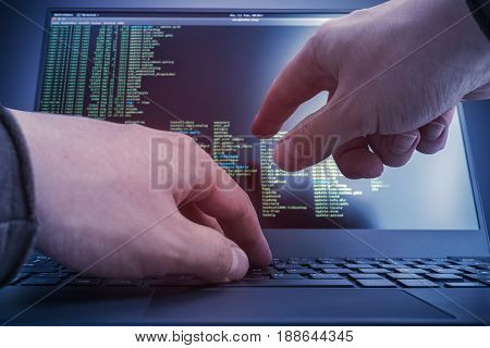 Hacker working on a linux console commands. Internet cyber concept.