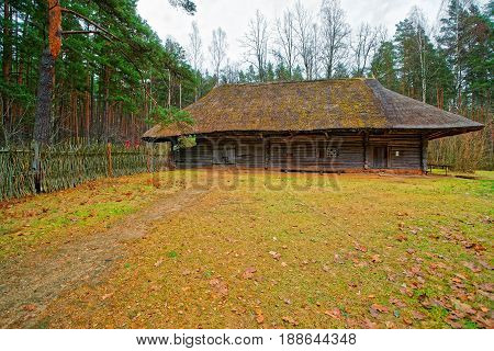 Old Wooden House In Ethnographic Open Air Village In Riga