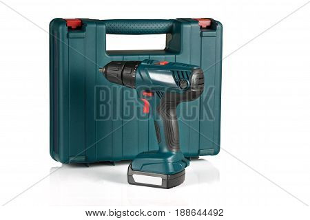 cordless drill and case on white background