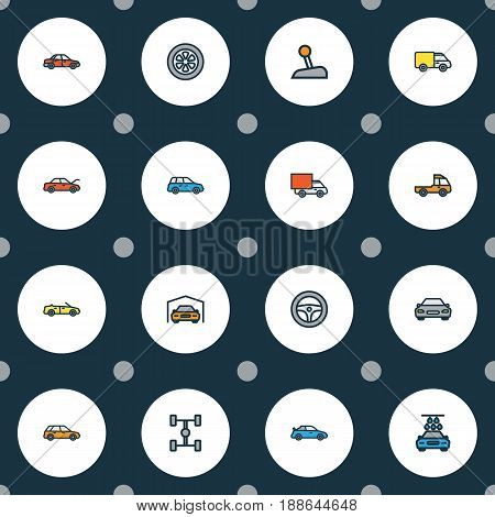 Car Colorful Outline Icons Set. Collection Of Shed, Machine, Sedan And Other Elements. Also Includes Symbols Such As Auto, Shed, Scheme.