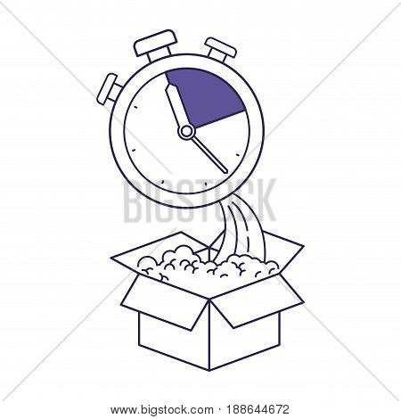 purple line contour of cardboard box and stopwatch vector illustration
