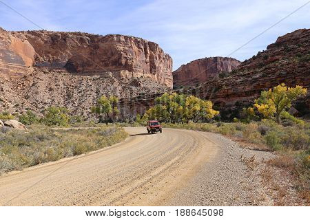 A Toyota LandCruiser HZJ75 at Oct 2014, on a Roatrip through the Little Grand Canyon, Emery County, Utah, United States of America