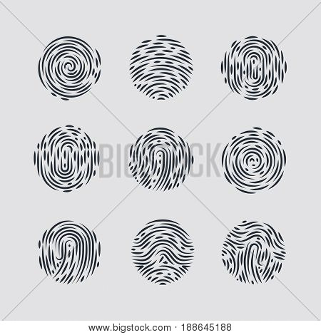 Abstract Round Fingerprint Patterns for Identity Person Security ID on Gray for Design