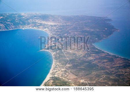 Kos greek island view from above (airplane).