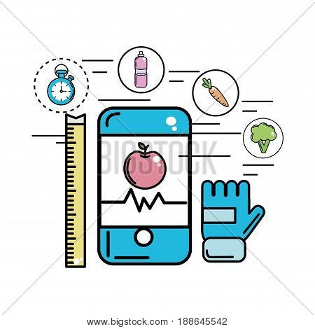 smartphone with beat and apple inside, vector illustration