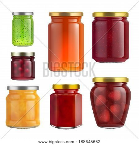 Fruit jam jar glass isolated on white background. Vector packaging mockup with realistic jam jar. Berries jam jar in a glass packaging. Strawberry jam jar, orange jam jar and cherry jam jar