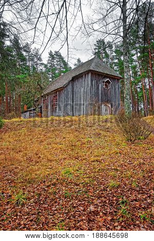 Old Wooden Building At Ethnographic Open Air Village Of Riga