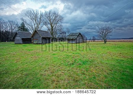 Old Houses In Ethnographic Open Air Village In Riga