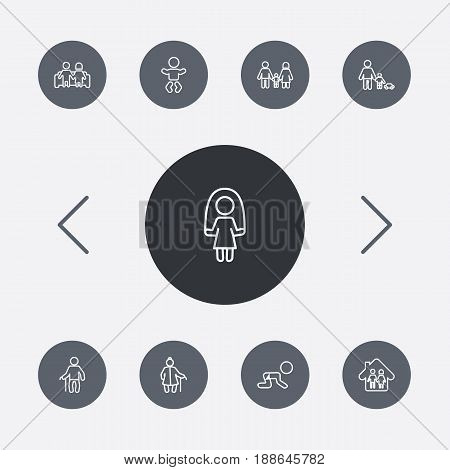 Set Of 9 Family Outline Icons Set.Collection Of Skipping Rope, Couple, Baby And Other Elements.
