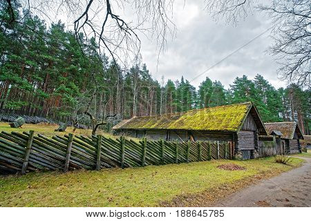Old Building And Wooden Fence In Ethnographic Village In Riga