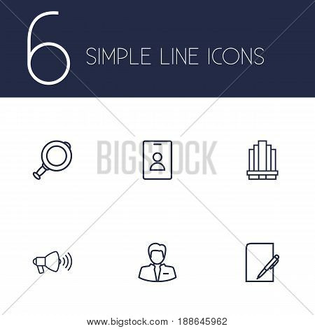 Set Of 6 Management Outline Icons Set.Collection Of Badge, Magnifier, Business Center And Other Elements.