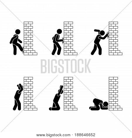 Stress pressure man stick figure poses. Hitting beating angry frustrated person vector pictogram