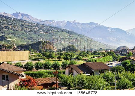 Valley And Bernese Alps Mountains In Sion Valais Switzerland