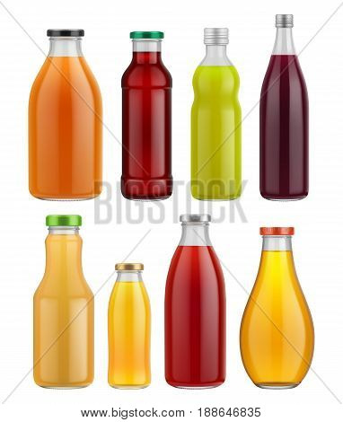Juice bottle glass isolated on white background. Vector packaging mockup with realistic glass bottle. Fruit juiec bottle glass set. Orange juice, cherry juice glass bottles different size.