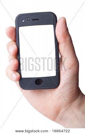 Main tenant le téléphone intelligent sur blanc (écran LCD a un tracé de détourage)