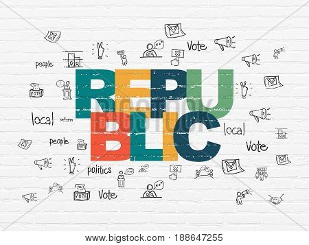 Politics concept: Painted multicolor text Republic on White Brick wall background with  Hand Drawn Politics Icons