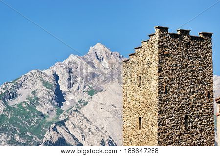 Tower Of Majorie Castle With Haut Cry Sion Valais Switzerland