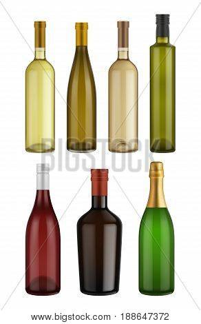 Wine bottle glass isolated on white background. Vector packaging mockup with realistic bottle. Wine bottle glass set. Red and White wine bottle glass. Vector wine bottles different size.