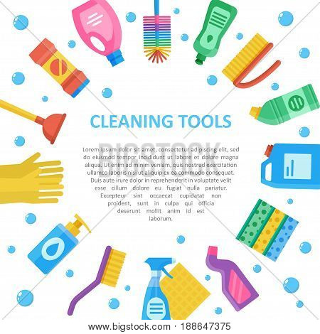 Cleaning tools, equipment and supplies icon set, professional products for home and office, copyspace. Vector flat style cartoon illustration isolated on white background