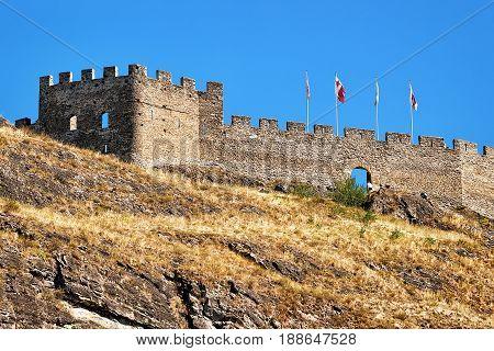 Tourbillon Castle At Hill Of Sion Valais Switzerland