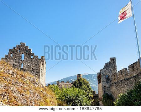 Stone Walls Of Tourbillon Castle At Hill Sion Valais Switzerland