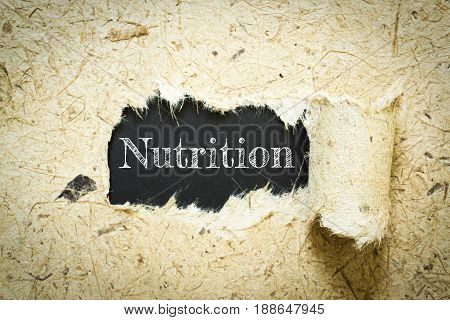 Text Nutrition on paper black has Mulberry paper background you can apply to your product.