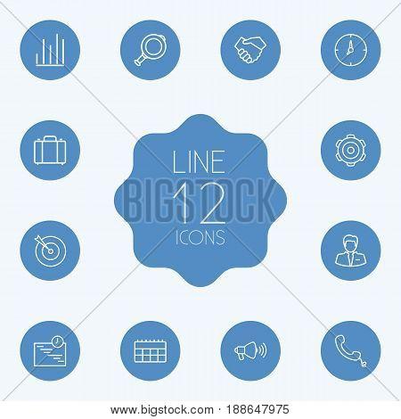 Set Of 12 Management Outline Icons Set.Collection Of Businessman, Calendar, Portfolio And Other Elements.