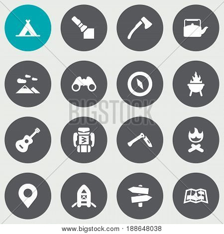 Set Of 16 Adventure Icons Set.Collection Of Flashlight, Magnet Navigatior, Jackknife And Other Elements.
