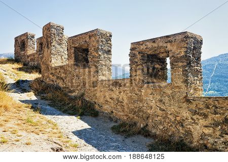 Ruins Of Walls Of Tourbillon Castle In Sion Valais Switzerland