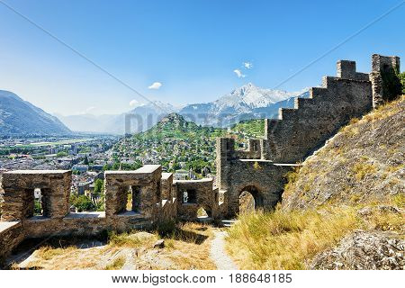 Ruins Of Walls In Tourbillon Castle In Sion Valais Switzerland