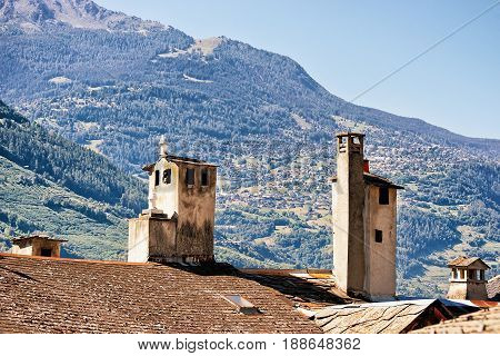 Roof And Chimneys Of Building In Sion Valais Switzerland