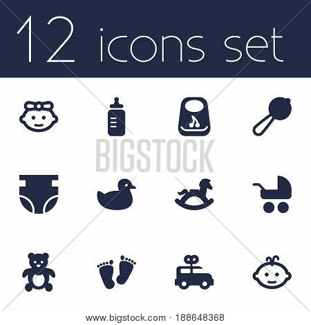 Set Of 12 Baby Icons Set.Collection Of Milk, Breastplate, Nappy And Other Elements.
