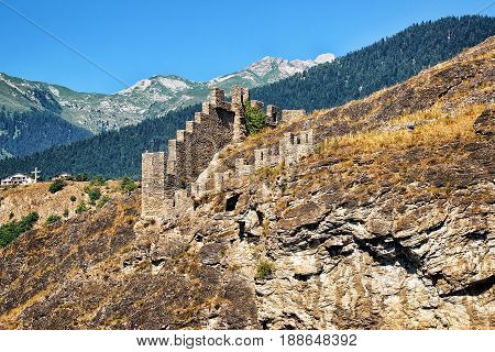 Remainings Of Tourbillon Castle In Sion Valais Switzerland