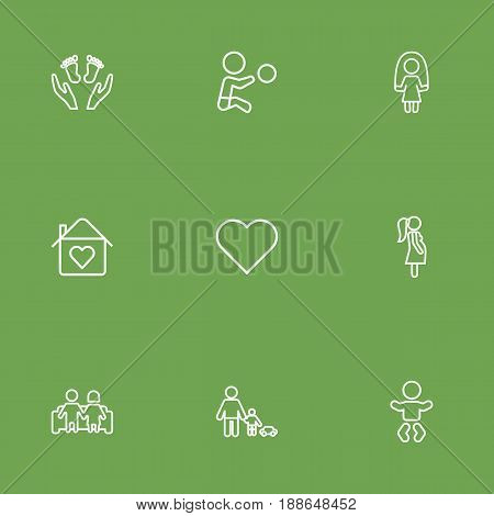 Set Of 9 People Outline Icons Set.Collection Of Playing, Care, Pregnant Woman And Other Elements.