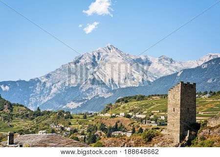 Majorie Castle With Haut Cry Mountain In Sion Valais Switzerland