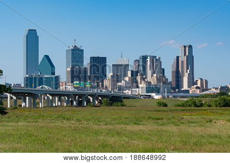 DALLAS, TX - MAY 13, 2017: Dallas city skyline from across the Trinity river.