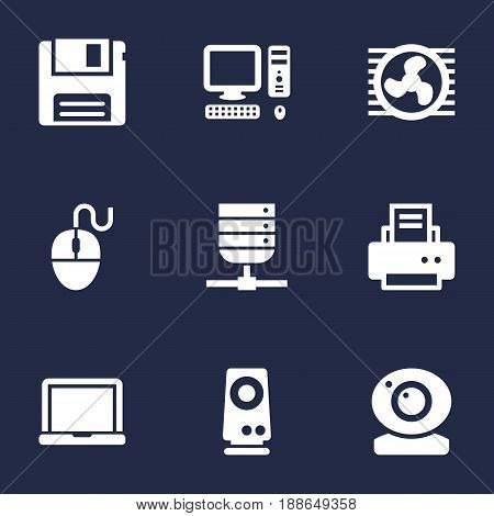 Set Of 9 Laptop Icons Set.Collection Of Amplifier, Diskette, Peripheral And Other Elements.