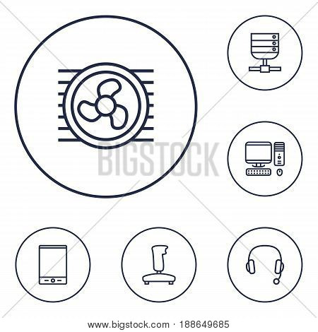 Set Of 6 Laptop Outline Icons Set.Collection Of Cooler, Tablet, Gamepad And Other Elements.