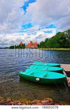 Galve Lake With Boats And Trakai Island Castle Museum