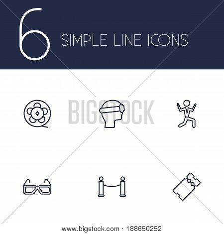 Set Of 6 Pleasure Outline Icons Set.Collection Of Dancing Man, Vr Helmet, Barrier Rope And Other Elements.